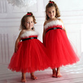 Amazing Baby Girls Kids Christmas Party Dresses Red PailletteDresses Xmas Gift Free Shipping Red Dress