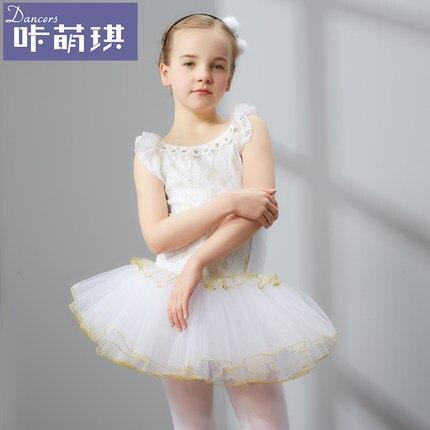 Бесплатная доставка девушки детские белые/черные кружевное с вышивкой балетное трико платье принцессы с юбкой-пачкой сказка