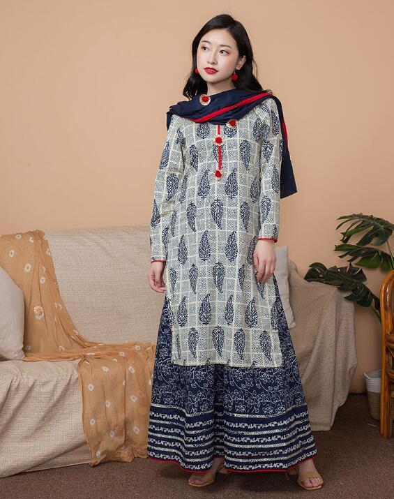 Inde mode femme Styles ethniques impression ensemble coton inde robe mince voyage Costume élégant dame Top + jupe + écharpe