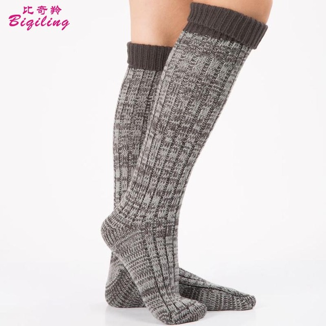 Women Crochet Knee High Socks Trim Cotton Boot Stockings Knitted Leg