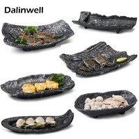 Restaurant Cooking Macedoine Special Snack BBQ Spare Imitation Ceramic Serving Container Platter Tray Dinnerware For Dining