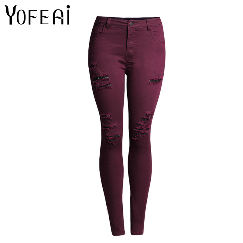 YOFEAI 2017 NEW Ripped Jeans Voor Vrouwen Fashion High Waist Jeans Skinny jeans Women Denim Jean