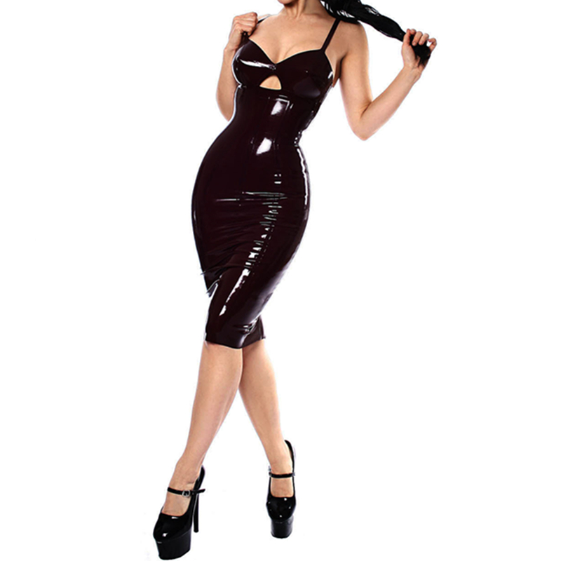 2017 New Black FashionSexy ladies black tight leather dress