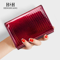 HH Women Wallet And Purse Genuine Leather Alligator Female Short Wallets Fashion Ladies Clutch Bags Coin