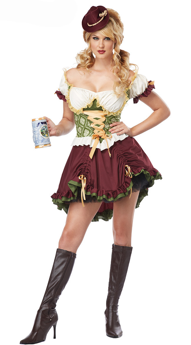 Germany Bavaria Oktoberfest Outfit Halloween Party Bar Beer Maid     Germany Bavaria Oktoberfest Outfit Halloween Party Bar Beer Maid Dirndl  Beer Girl Wench Costume