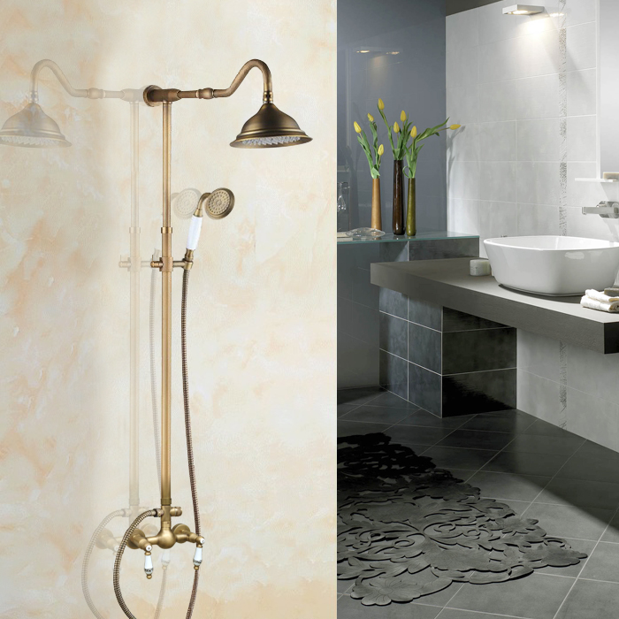 Rainfall 8.2 inch Round Vintage Retro Antique Brass Wall Mounted Rain Shower Faucet Set Mixer Tap Two Ceramics Levers aan506
