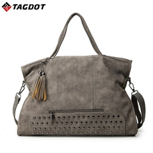 New rivet Scrub Leather Women bag Black Grey Causal Tote Large Capacity Ladies Shoulder bags Shopping Luxury Handbags Bags