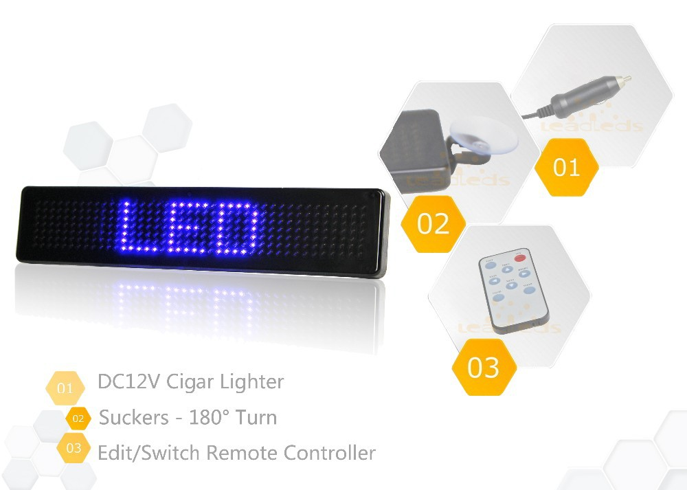 remote blue led sign lights programmable for cars