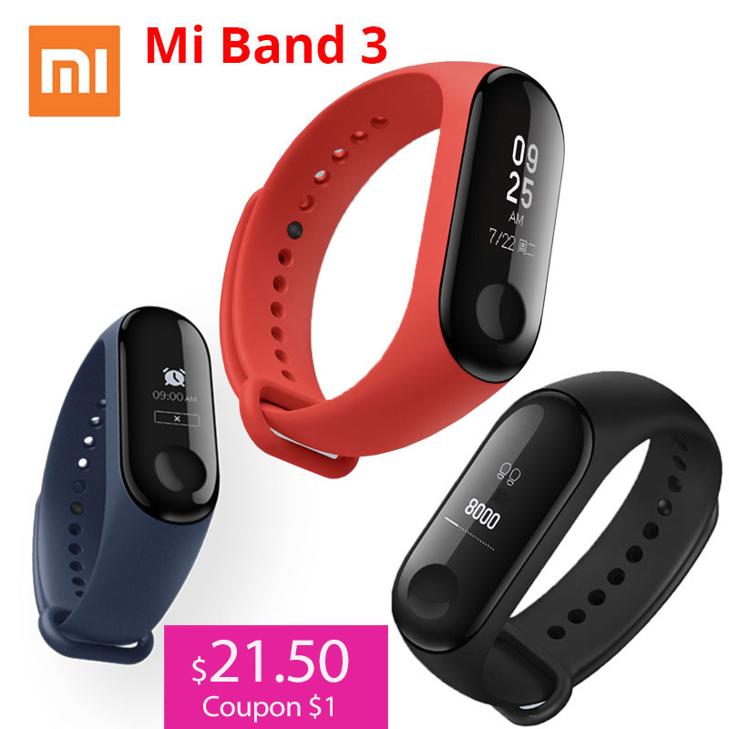 Xiaomi Smart-Wristband Fitness-Tracker OLED Touch-Screen Waterproof 3 with Heart-Rate