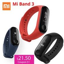 سوار اليد الذكي شاومي مي باند 3 Miband 3 بشاشة لمس OLED مقاس 0.78 بوصة مقاوم للماء ومتتبع اللياقة البدنية ومعدل ضربات القلب سوار ذكي