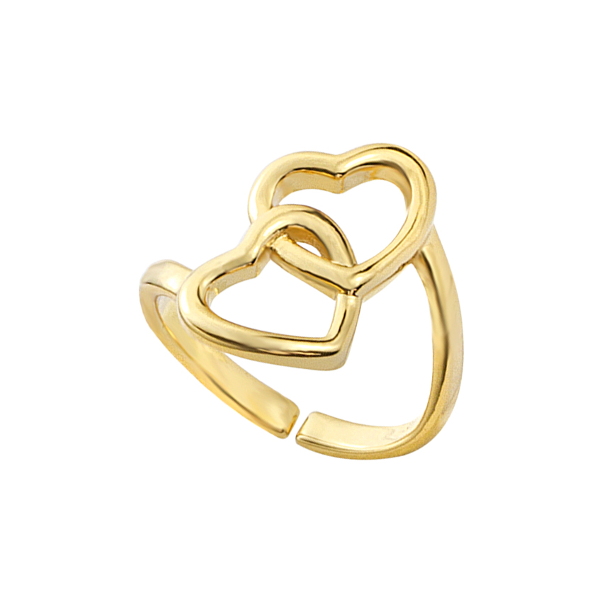Online Shop Statement Trendy Love Ring Romantic Girlfriend Birthday Gift Ideas Double Heart Knot Promise Open Rings Adjustable Bagues Femme