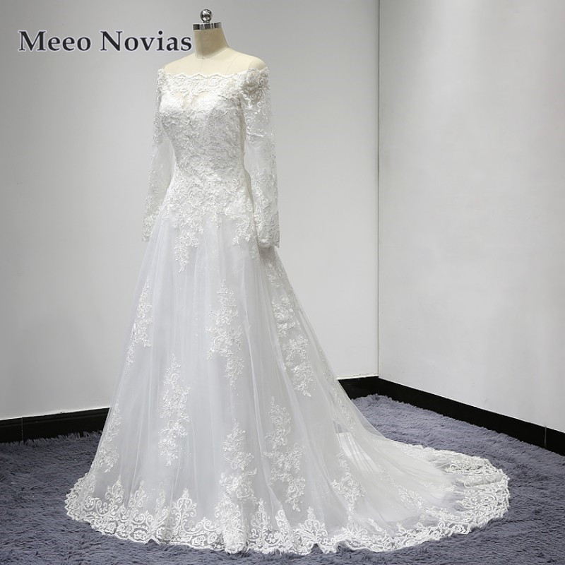 Samples Of Wedding Gowns: Vestido De Noiva Real Samples Wedding Dress Long Sleeves