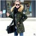 2016 é o algodão-acolchoado roupas na primavera e no outono inverno longo do novo exército camuflagem verde algodão-acolchoado jacket