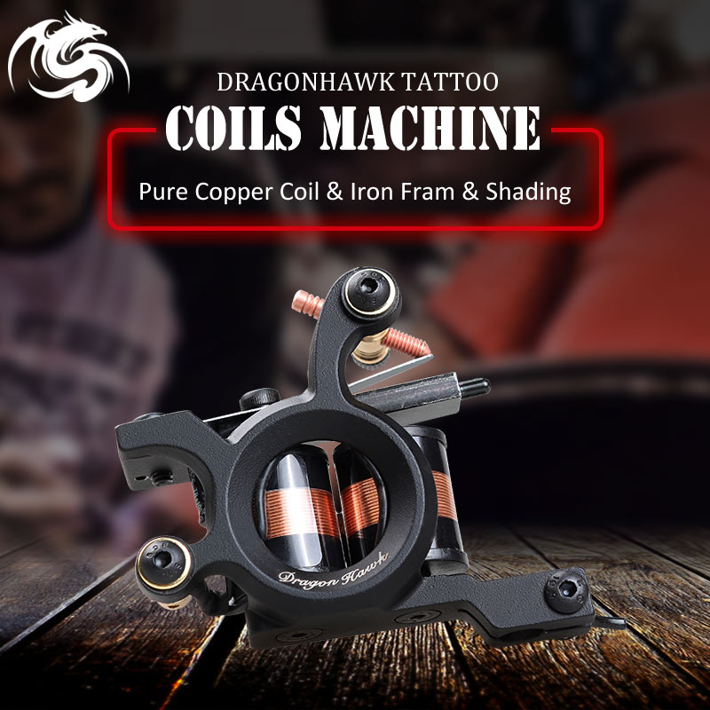 Dragonhawk Iron Tattoo Gun Shading Machine 10 Wrap Koppar Coils Supplies