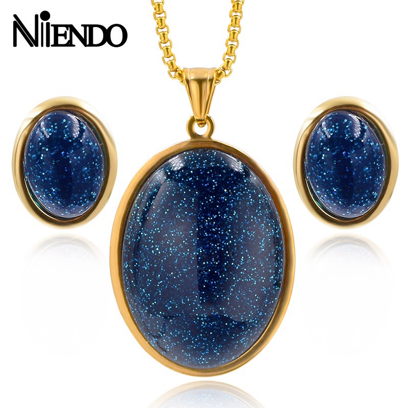 NIENDO Present Hot sale Classic Women Stainless Steel brown Color Dark blue glass small sequin pendant earrings Jewelry Sets