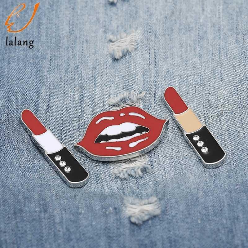 4 Buah/Set Seksi Merah Bibir Lipstik Acrylic Bros Pin Fashion Ciuman Aku Sangat Keren Pin Tombol Kemeja Denim Kerah lencana Perhiasan