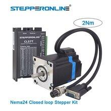 все цены на Nema 24 Stepper Motor Kit with Hybrid Closed Loop Stepper Driver + Nema24 2Nm Step Servo Motor & 2pcs 1.7m Extension Cables онлайн