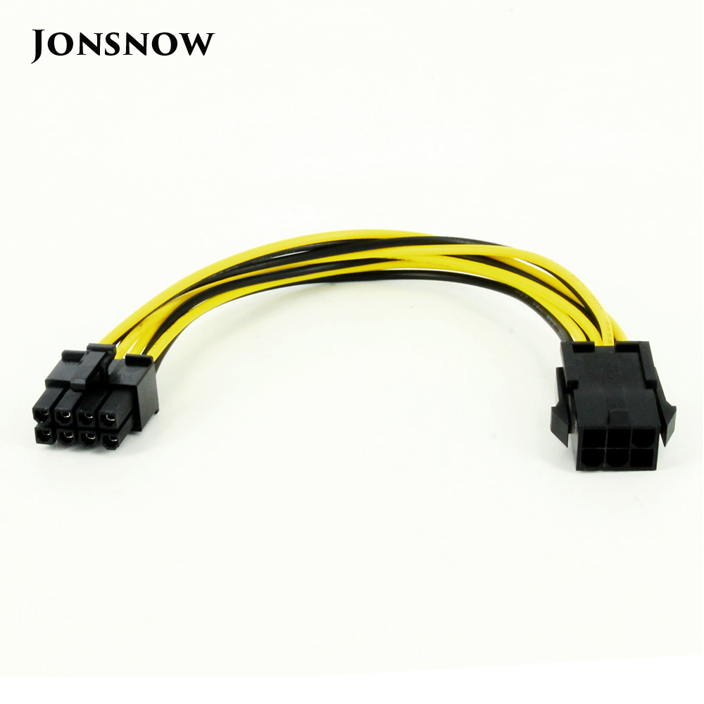 JONSNOW 8 Pin Male To 6 Pin Female Molex IDE Express Power Extension Cable Adapter For CPU Video Card PCI-E Power