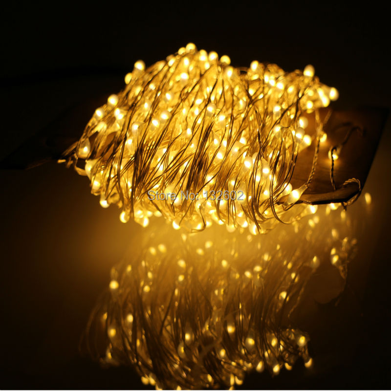 24m 480Leds Utomhus LED Stränglampor Varmvitt Silver Wire Christmas Starry Fairy Lights + Strömadapter (EU / USA / UK / AU Plug)