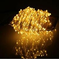 Venta 24m 480Leds al aire libre LED cadena de luces blanco cálido alambre de plata Navidad luces de hadas estrelladas + adaptador de corriente (EU/US/UK/AU Plug)