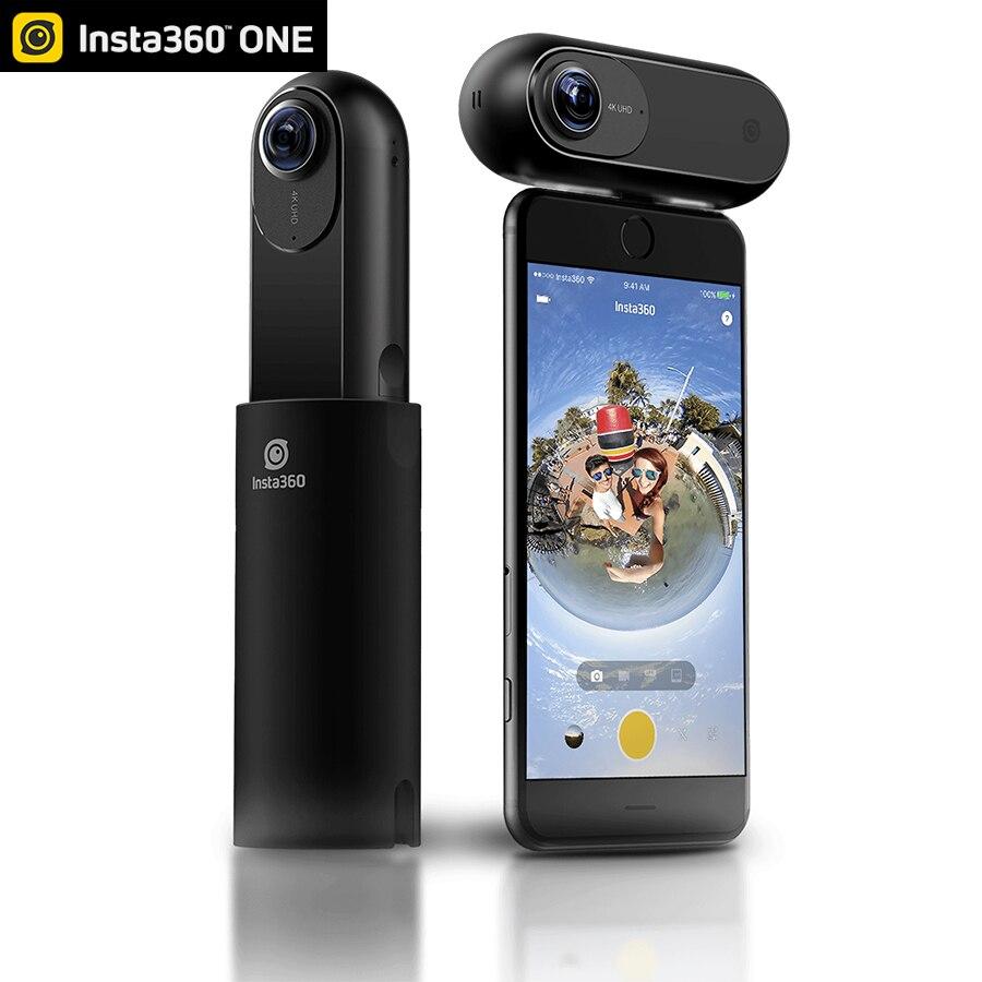 2018 Insta360 uno de 4 K 360 cámara panorámica VR vídeo acción del deporte de la Cámara 24MP tiempo bala de 6 ejes giroscopio Webcast para iPhone Cam