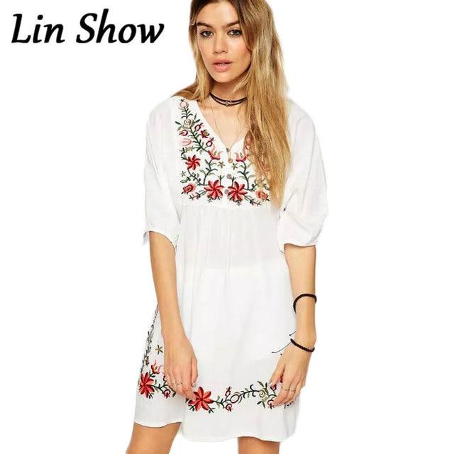 882ae6859 Flores Bordado Vestido Blanco de Las Señoras Batwing Manga Verano Estilo  Étnico AZ8091 Femininos vestidos de