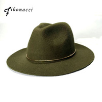Fibonacci جودة عالية للجنسين الجاز قبعة بلون الذهب هوب حزام صوف فيلت فيدورا قبعات للنساء الرجال