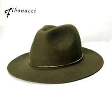 피보나치 고품질 Unisex 재즈 모자 솔리드 컬러 골드 후프 벨트 울 여성 남성을위한 Fedoras 모자를 느꼈다