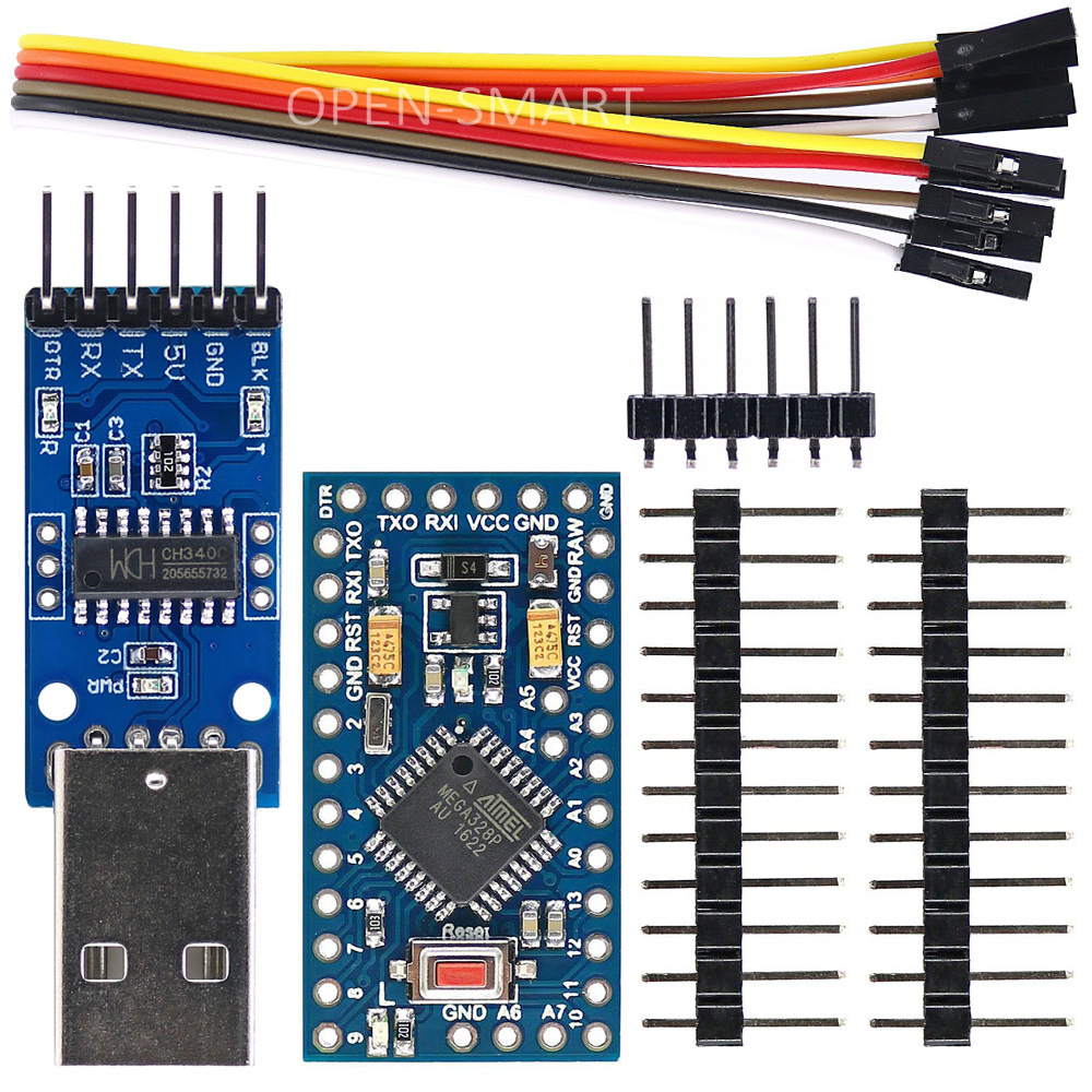 Improved Pro Mini ATmega328P 5V / 16MHz Board + CH340 USB to TTL Programmer CH340G Module for Arduino все цены
