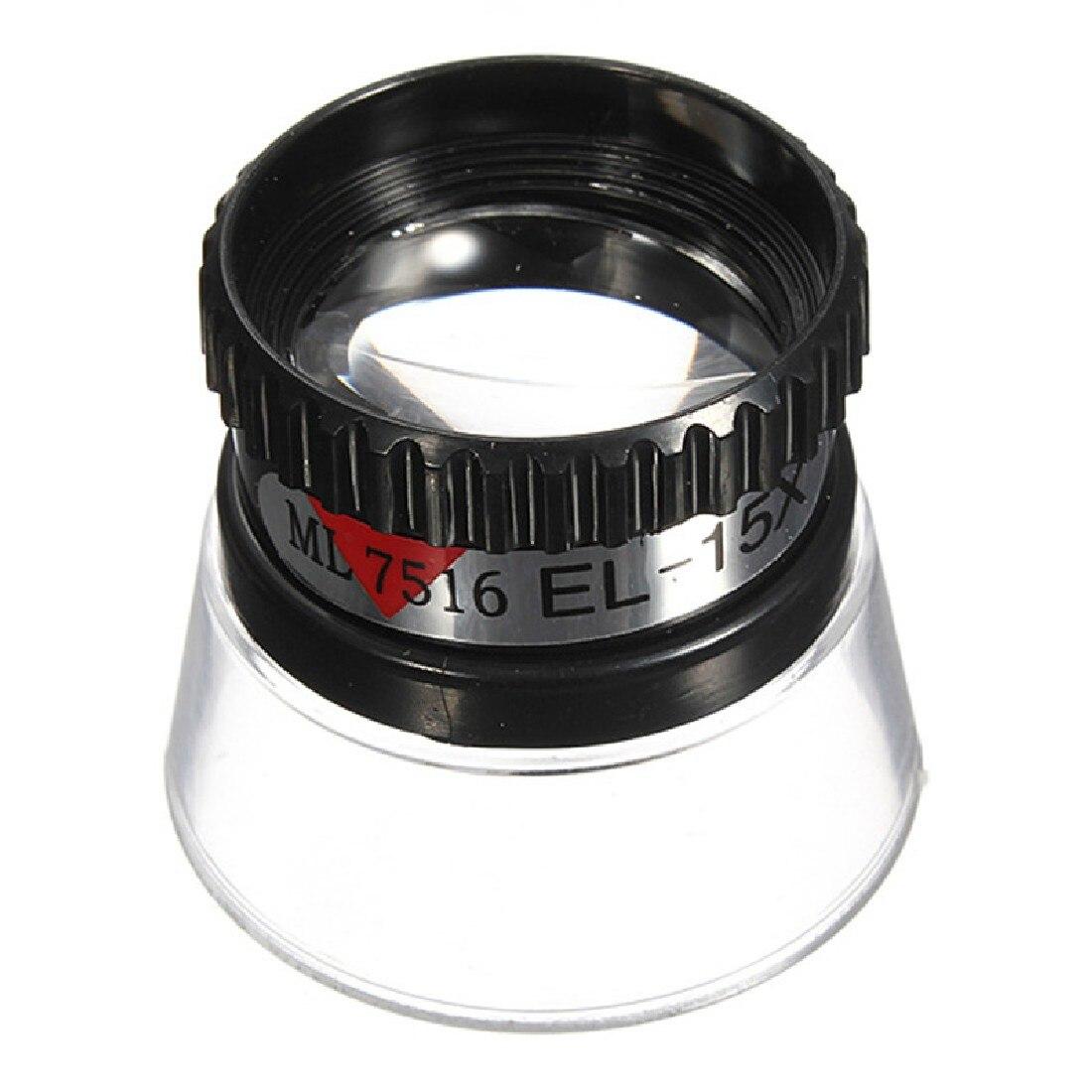 Magnifying Glass 22mm 15X Monocular Loupe Lens Jeweler Tool Eye Magnifier Watch Repair Tool Black Portable Tools 9892d headset watch repair magnifier tool w led white light black