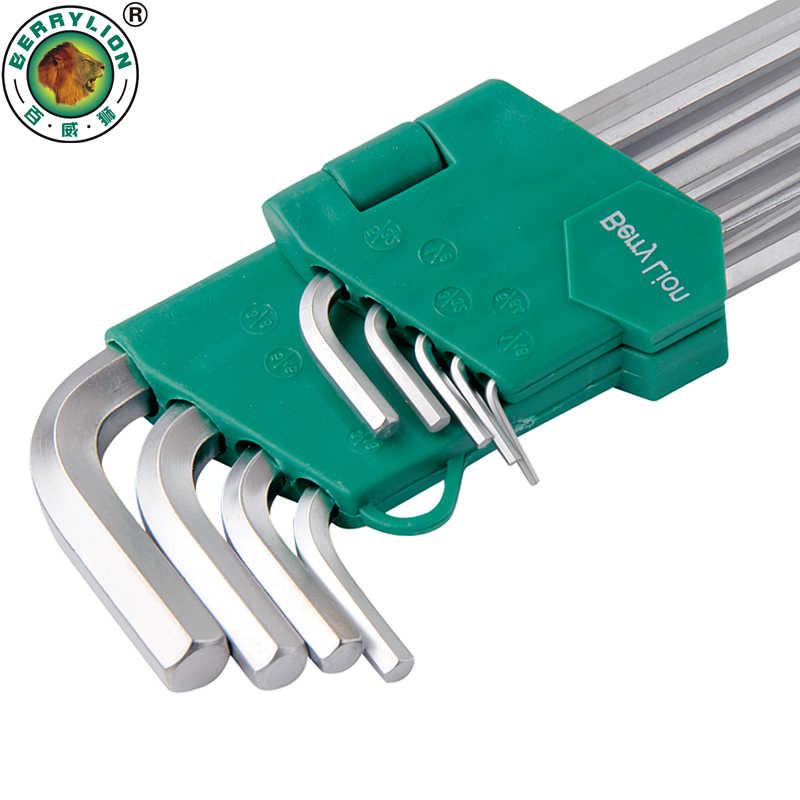 Шестигранный ключ BERRYLION 9 шт., Набор шестигранных ключей L-образных 1/16 ''-3/8'', универсальный шестигранный ключ для ремонта велосипедов, ручные инструменты