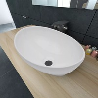 Modern style Countertop Sink High quality Artistic Oval shaped Wash Basin Household Luxurious Washbasin Ceramic Bathroom Sink
