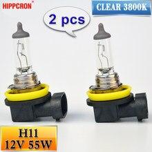 Hipcron h11 halogênio bulbo 12 v 55 w 2 pçs (1 par) claro 3800 k quartz vidro farol do carro lâmpada