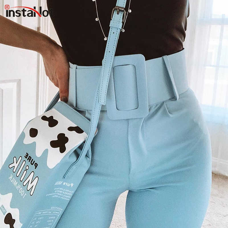 InstaHot Casual High Waist Pencil Pants Women Belt Ankle Length Office Lady Pants Blue Zipper Suit Trousers Straight Leg Sashes