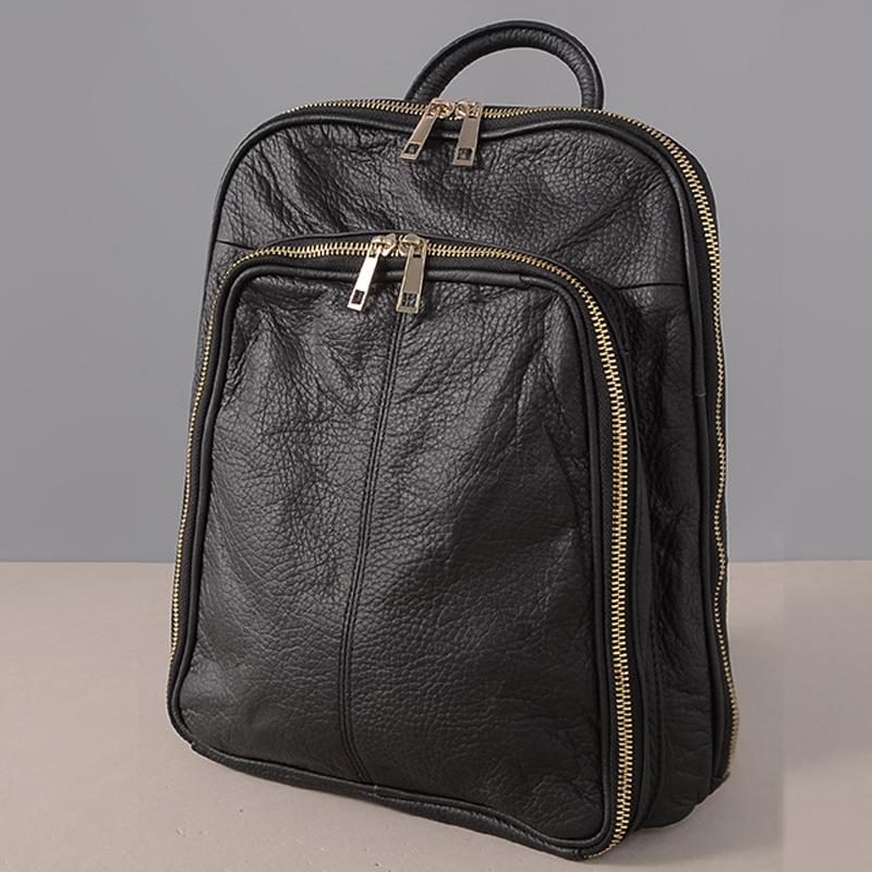 Women Zipper Backpack Fashion Genuine leather Girls Female Casual Small School Bag 2017 mochila escolar menina adolescente