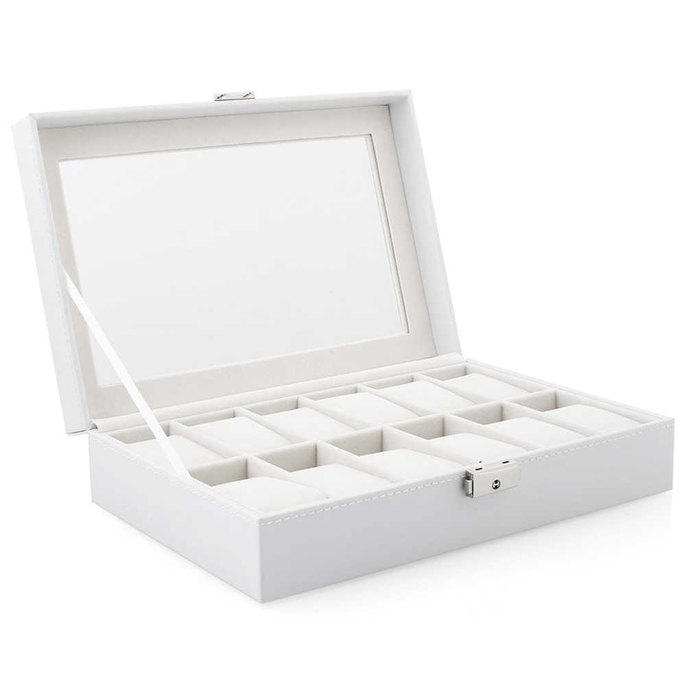 Watch Display Storage Box Case White 12 Grids for Multi-functional Bracelet Watches Display Casket Watches Holder Casket
