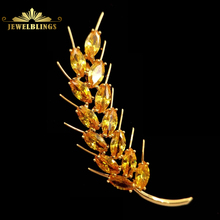 Nature Inspiration Yellow Wheat Brooches Gold Tone Marquise Shaped CZ Prong Set Wheat Sheath Pins Harvest Holiday Jewelry fabulous short tassel drops double yellow bird brooches silver tone micro pave cz green eyes two love birds pins for girlfriend