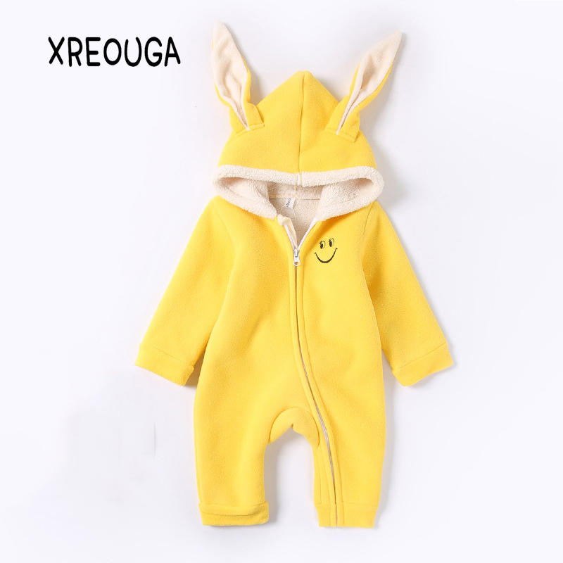 Rabbit Ear Baby Rompers Winter Thick Cotton Boys Costume Girls Warm Clothes Kid Jumpsuit Children Outerwear Baby Wear 3-24M JG02 russia winter baby rompers new born baby pakas thick down baby ropa warm outerwear for baby girls boys cute clothes little kids