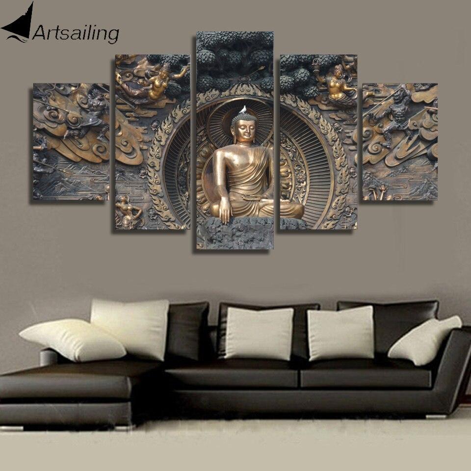 7691f0234 HD المطبوعة بوذا تمثال اللوحة جدار الفن غرفة ديكور طباعة المشارك صورة مطبوعة  على القماش شحن مجاني/ny-1195