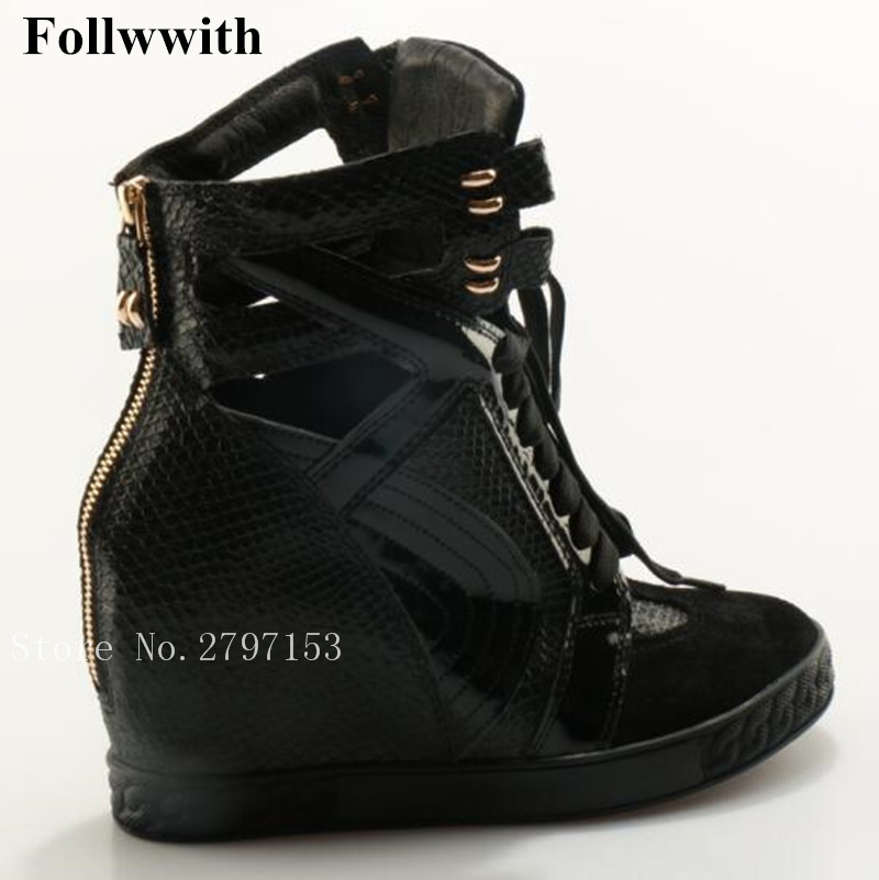 2018 Follwwith Women Boots Black Snakeskin Cut-outs Lace Up Casual Shoes High Top Flats Height Increasing Back Zip Fashion Boots black sequins embellished open back lace up top