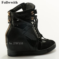 2018 Follwwith Women Boots Black Snakeskin Cut Outs Lace Up Casual Shoes High Top Flats Height