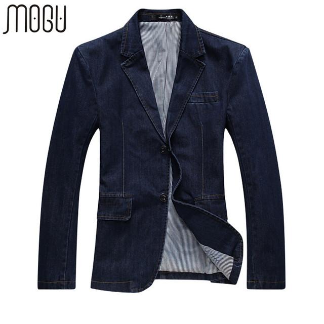 Mogu nueva chaqueta de mezclilla de moda casual hombres de algodón traje de chaqueta de los hombres Blue Coat Hombres Chaqueta prendas de Vestir Exteriores del Dril de algodón Más El Tamaño 4XL Chaqueta de Jean