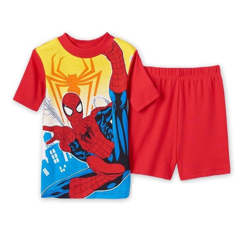 14 Kids Boys Girls Pajamas Cartoon Spider-Man Set Baby Sleepwear Cotton Superhero Costumes Shorts + Short Sleeve Tees Baby Clothing