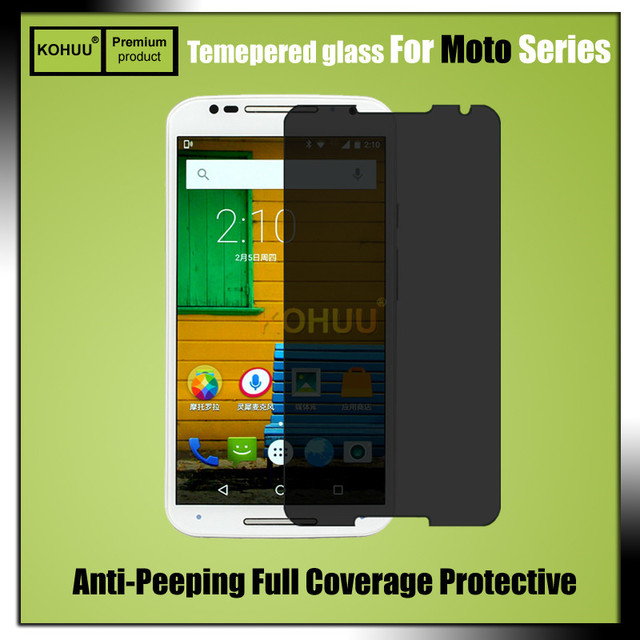 KOHUU Anti-peeping glass tempered glass screen protector For Motorola X x2 x3 E E2 G G2 G3 Privacy film Anti spy peep 2.5D 9H