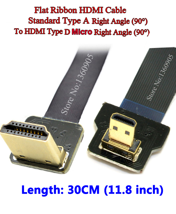 BLACK 30CM FPV HDMI Cable Micro Interface to Standard Interface right angle 90 degree for GH4 GOPRO BMPCC A5000 A6000 A7R A7S 30cm hdmi to hdmi cable