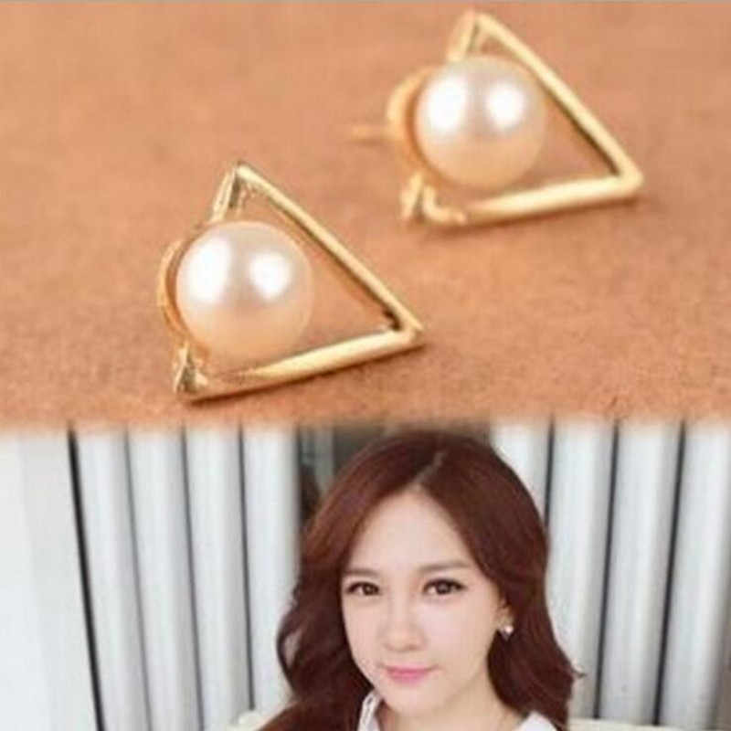 Hot Sale Trendy Nickel Free Earrings Fashion Jewelry 2017 Pearl Earrings For Women Brincos Oorbellen Cute Triangle Stud Ear