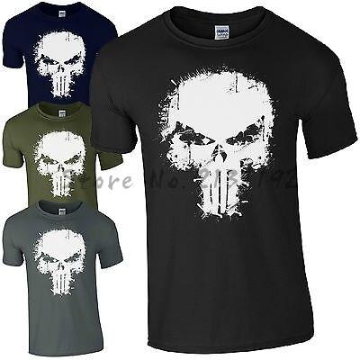 ba80d3cbe Punisher Skull T-Shirt - Frank Castle Marvel Agent Paint Splatter Mens MMA  men's top tees