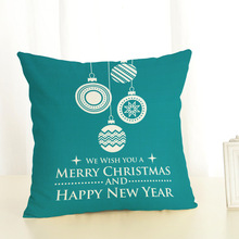 Merry Christmas Decorations for Home Cover Cushion 2019 New Christmas Text Pattern Elk Christmas Ball 45x45cm Linen Pillowcase linen seat cushion merry christmas pillow cover
