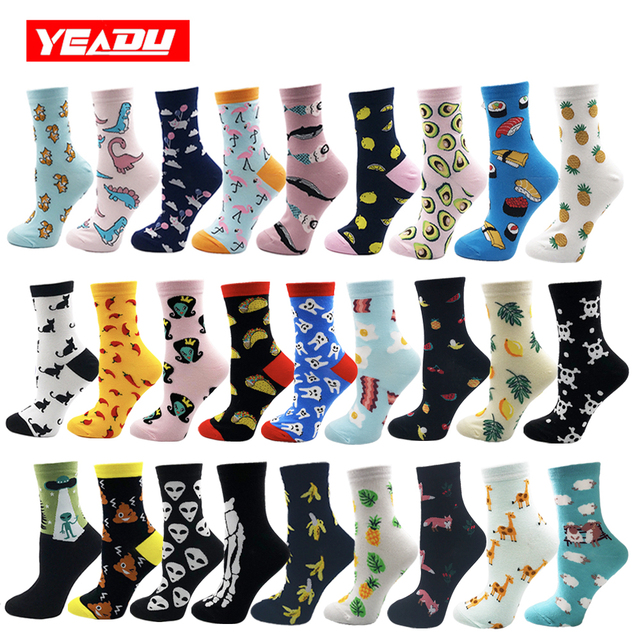 YEADU Women's Socks Japanese Cotton Colorful Cartoon Cute Funny Happy kawaii Skull Alien Avocado Socks for Girl Christmas Gift