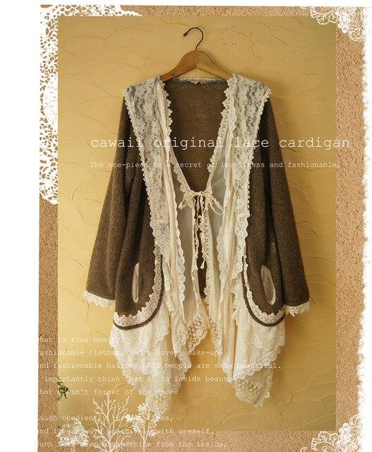 Mori Girl Lolita Knitted Lace Sweater Cardigan Wool Jumpers Women ...